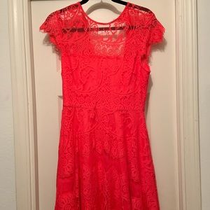 Bright salmon lace dress - SIZE 6 - Worn ONCE